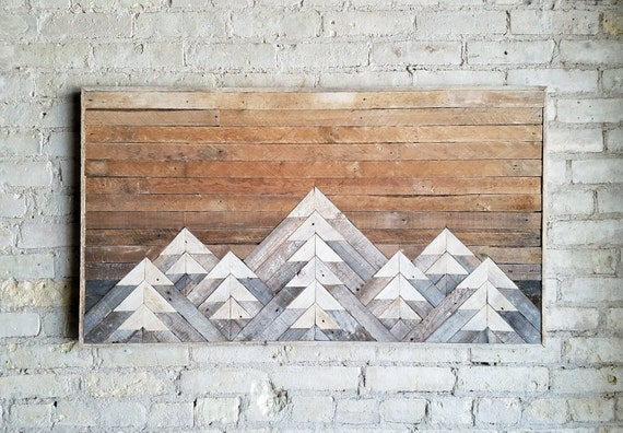 Reclaimed Wood Wall Art, Wall Decor or Twin Headboard, Lath, Geometric, Mountains, Gradient, Tall