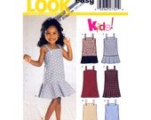 Girls Dress Pattern New Look 6332 Pleated Flounce Dress, Jumper With Shoulder Straps Size 3 to 8 UNCUT
