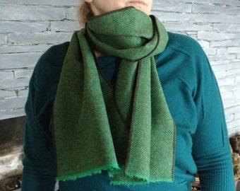Irish tweed scarf - 100% wool - breen & brown herringbone - ready for shipping - HANDMADE IN IRELAND