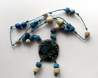 Rhapsody in Blue #10: one-of-a-kind handmade ceramic necklace with pendant