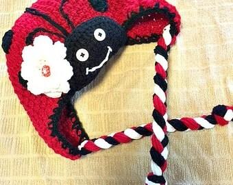 Adorable Ladybug Hat with Earflaps