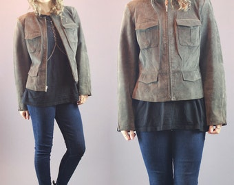90s Leather Jacket Genuine Leather Suede Biker Jacket Moto Style Coat Green Grey Slim Fit Size M/L