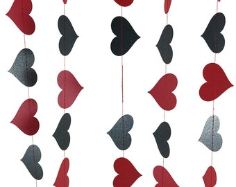 Red and Black Garland - Black and Red Garland, Paper Heart Garland Party Decorations, Romantic Decor, Valentine's & Anniversary - GH029RedOx