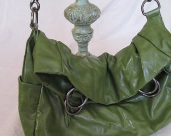 SHIRALEAH, Large, Crossbody Bag ~ Green, VEGAN Leather, BoHoc Chic, Vintage Style ~ Shoulder Bag, Cross Body, Long Strap