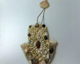 Hanging Hamsa with Shells Handmade One of a Kind Unique