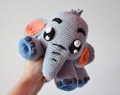 Crochet PATTERN - Grey Elephant Echo by Krawka, cute crochet plush Heffalump Dumbo