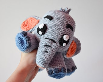 Crochet PATTERN - Grey Elephant Echo by Krawka, cute crochet plush