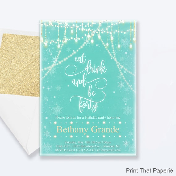 40th Birthday Invitation Snow Fairy Lights Invitation Milestone