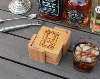 Personalized Coasters, Custom Coasters, Engraved Coasters, Custom Wedding Gift, Bamboo Square 6 Coaster Set with Holder --cst-sbam-harrison
