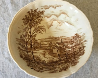 "Vintage Alfred Meakin Reverie Brown Transferware 9"" Round Vegetable Bowl, Alfred Meakin Hand Engraved Serving Bowl"