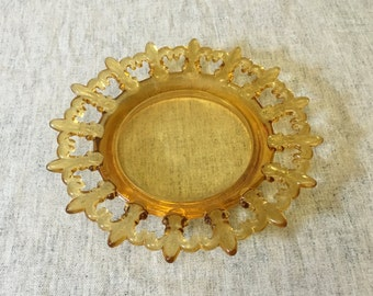 Westmoreland Amber Glass Fleur de Lis Plate, Westmoreland Dessert Plate