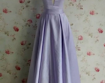 Lilac taffeta empire waist V-neck evening gown