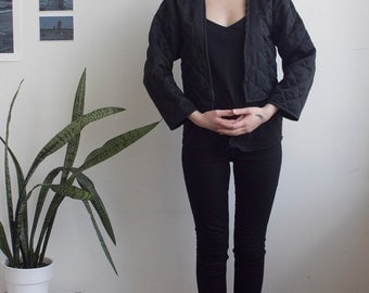Vintage Cropped Quilted Black Jacket One Size