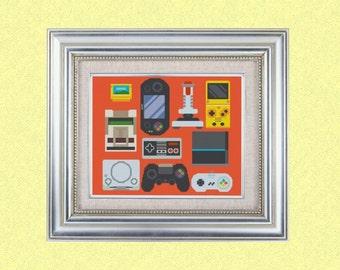 Cross stitch pattern modern retro gaming pattern Instant PDF Download Cross Stitch Chart, Embroidery Needlework nintendo pattern video game