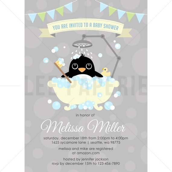 penguin baby shower invitation boy penguin in bathtub baby shower