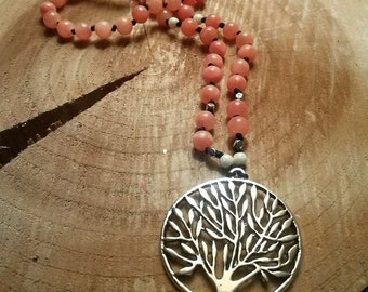 Coral and Silver Beaded Tree Pendant Necklace