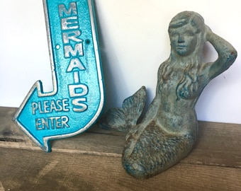 Cast Iron Mermaid Sign - Turquoise Blue/ or Pick Color - Beach Decor - Bathroom Wall Decor - Mermaid Decor - Mermaid Wall Art - Nautical Art