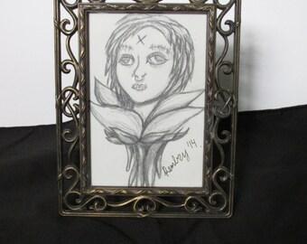 Flower Head 3x5 Original Drawing