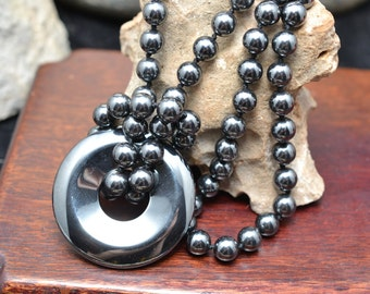 Lustrous Hematite Beads, Hand Knotted with Removable Hematite Pi Medallion