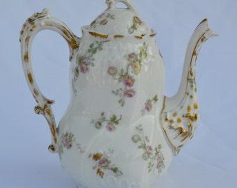 French Vintage Limoges Porcelain Coffee Pot - Floral Little Roses Design - French Country Cottage Kitchenware - Cafe au Lait Petit Dejeuner