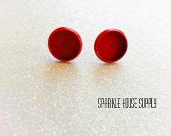 10mm Red Enamel Round Bezel Stud Earring Blanks - 10 Pcs (5 Pairs)