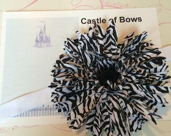 "Zebra Print Gerber Daisy Large 5"" Flower Baby Headband - Headband or Hair Clip - You Pick Headband Color"