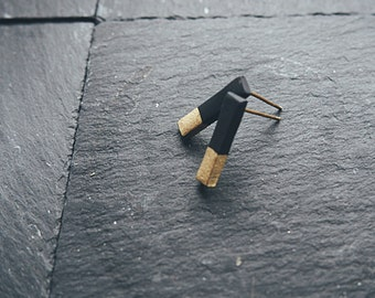 Minimal Black / Ivory & Gold Bar Stud Earrings