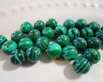 15 malachite beads 8 mm Green and black man made malachite beads round ball beads Malachite Loose gemstone beads Destash Jewelry Supplies