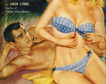 """pulp art print They Call Her """"Easy""""  —  vintage pulp paperback cover repro"""
