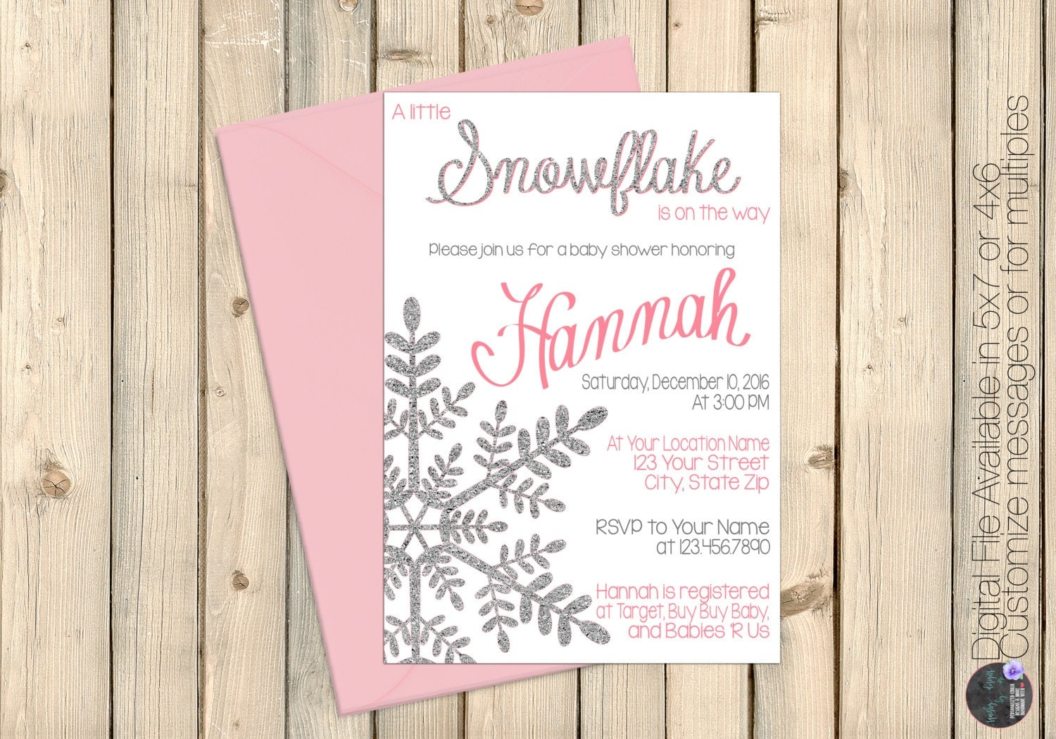 Pink Winter Wonderland Baby Shower Invitation, Little Snowflake On The Way,  Silver Glitter,