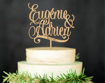 Personalized wedding cake topper with names and date, custom cake topper, toppers for wedding cakes, bride and groom names cake topper