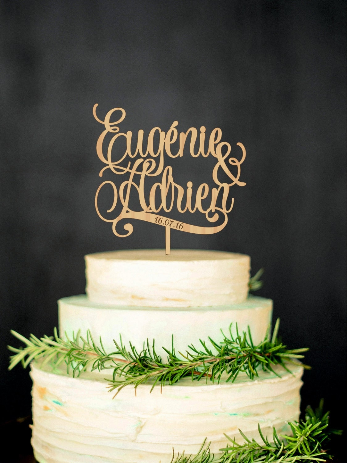 Personalized wedding cake topper with names and date custom