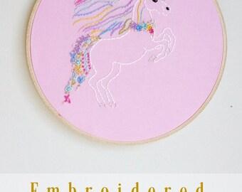 Unicorn Embroidery Hoop. Unicorn Gift. Stitched Unicorn. Unicorn Hoop Art. Girls Room Decor. Nursery Art. Hoop Wall Art. Fantasy Art Decor.