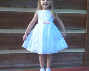 babydoll cotton and eyelet lace little girls dress 4T