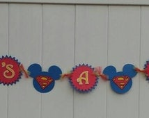 Superman Mickey Mouse Banner. Super Mickey Baby Shower. Super Mickey Birthday.