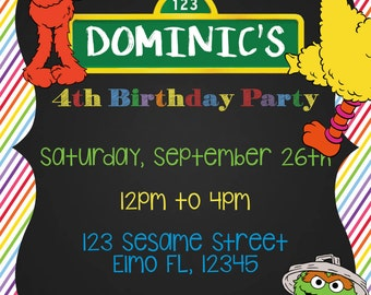 Sesame Street Invitation - Matching Thank You Card - Sesame Street - Elmo