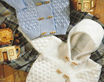 """Baby Jacket with Hood or Collar Boys and Girls PDF Knitting Pattern DK 18-26"""""""