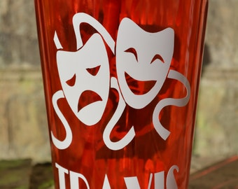 Personalized MAARS High Quality Acrylic Theater Drama Club Cup 16 oz Double Walled Tumbler with Lid / Straw