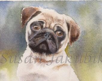 Pug Watercolor, Original Painting, Pug Painting
