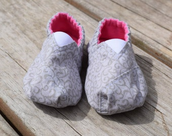 Gray and Pink Baby Shoes
