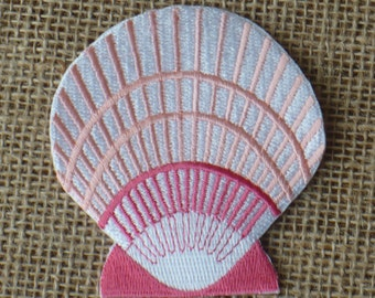 Vintage Embroidered Pink Seashell Iron On Patch Applique