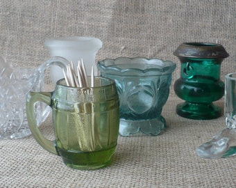 Vintage Glass Toothpick Holders  Lot of Six Glass Collection