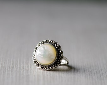 Mother of Pearl Statement Ring, Marcasite Ring, Gemstone Jewelry, Sterling Silver Ring, Gift For Her