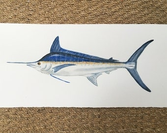 Watercolor Blue Marlin