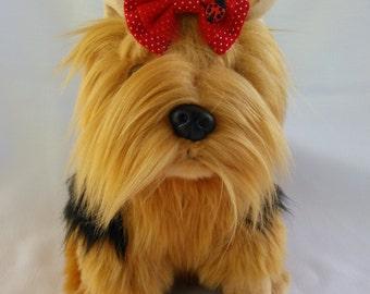 Red Ladybug dog hairbow