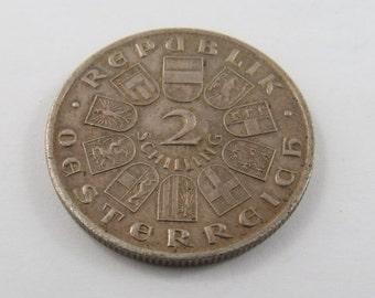 Austria 1928 Silver 2 Schilling Coin.Subject-Centennial-Death of Franz Schubert.