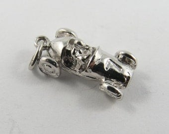 Old Fashion One Seat Race Car and Driver Silver Charm of Pendant.