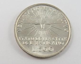 Vatican City 1958 Silver 500 Lire Coin.