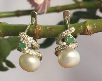 Vintage Pearl, Vintage Emerald, Birthstone Earrings, Vintage Earrings, Genuine Pearl, Genuine Emerald, Jewelry Set