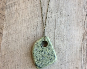 Green Stone Pendant Necklace, Long Necklace, Pendant Necklace, Rustic Necklace, Rustic Modern Jewelry, Free Shipping U.S.